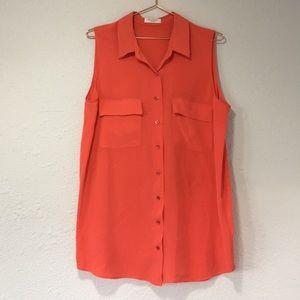 Equipment L coral 100% silk tunic blouse tank